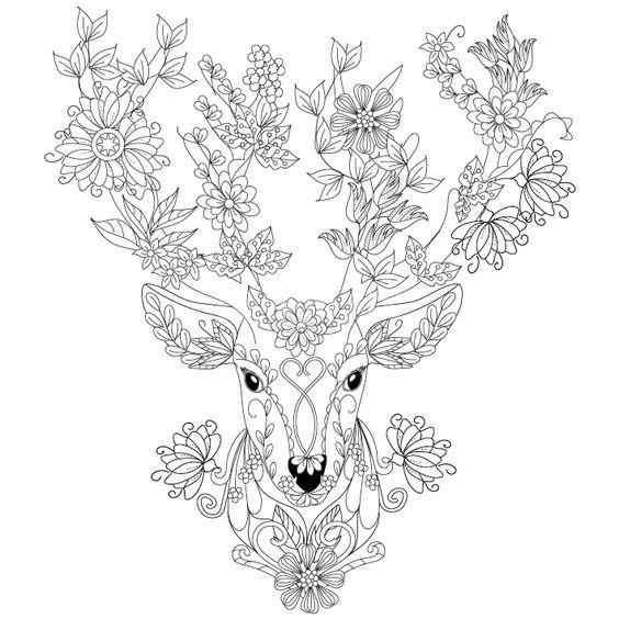 Deer coloring page : Design MS | Zentangles ~ Adult ...