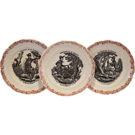 Wonderful French Faience Plates ~ 1 – 3  ~ Hunting Scenes ~ from Series Medailles d'Or Questions de Mr. Crakfort ~ Hautin & Boulanger choisy le roi France 1875-1900
