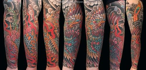 Japanese Irezumi Phoenix Tattoo Sleeve Japanese Irezumi Phoenix Tattoo Sleeve By Scott A Cooksey Of Lone S In 2020 Phoenix Tattoo Sleeve Star Tattoos Lone Star Tattoo