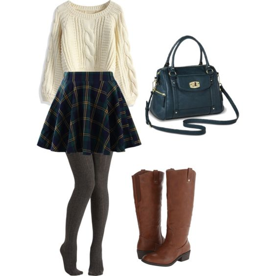 cream sweater, plaid skirt, grey tights and some brown boots
