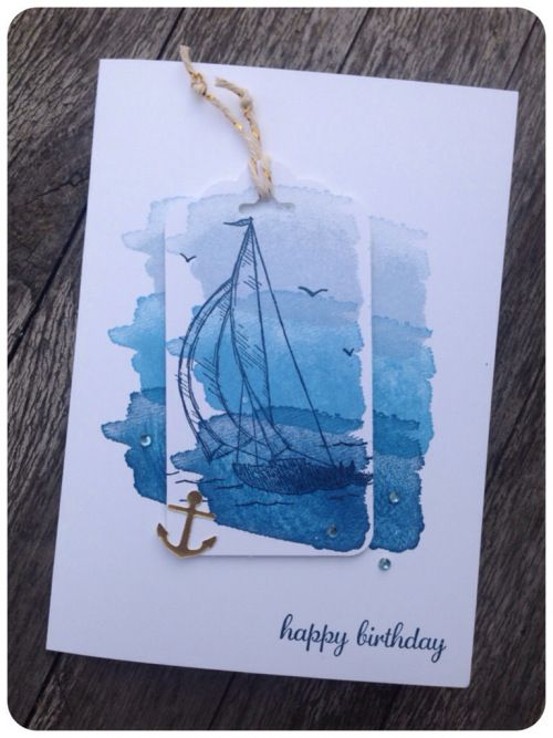 Maritime Birthday Card using Stampin' Up Happy Water Color, Sail Away and Express Yourself stamp sets