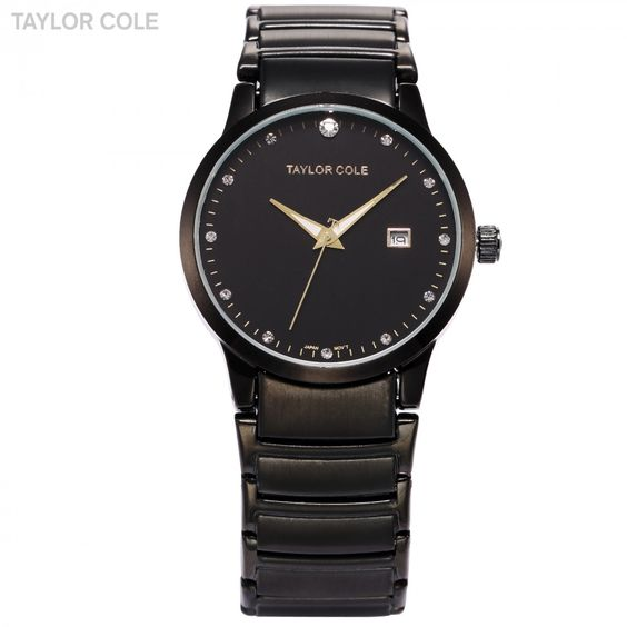 Taylor Cole Round Black Crystal Full Stainless Steel Strap Female Quartz Dress Watch/TC022