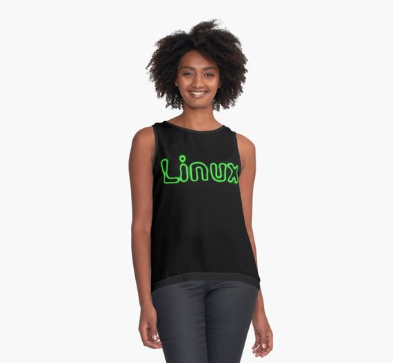 Green Linux logo on black background.