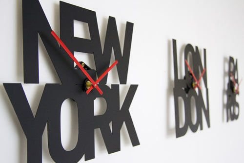 Designed by London-based designers Goodwin + Goodwin, these Typographic Time Zone Clocks are an interesting alternative to traditional time zone clocks. Currently there's New York, Paris, and London, but more are planned. Perfect for the type-obsessed.