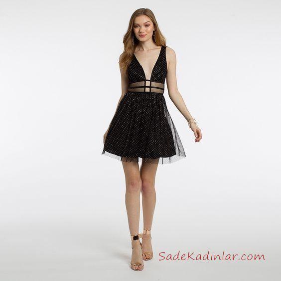 2020 Gece Elbise Modelleri Siyah Kisa Askili Derin V Yaka Transparan Tul Detayli The Dress Elbise V Yaka
