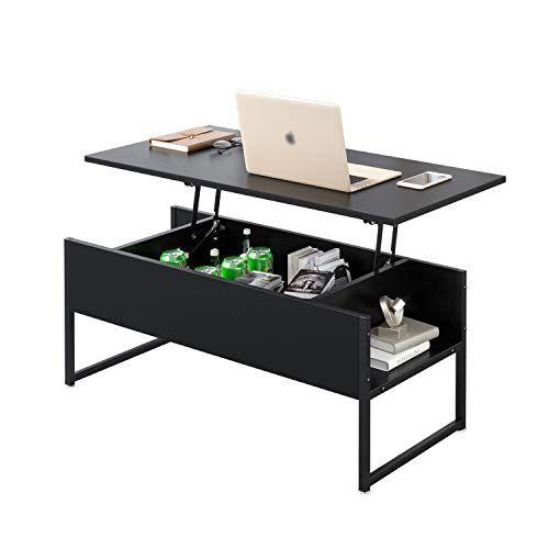Beliwin Table Basse Relevable Bureau Avec Grand Rangement Cache Pour Bureau De Salon Noir Table Basse Relevable Table Basse Espaces De Rangement Caches