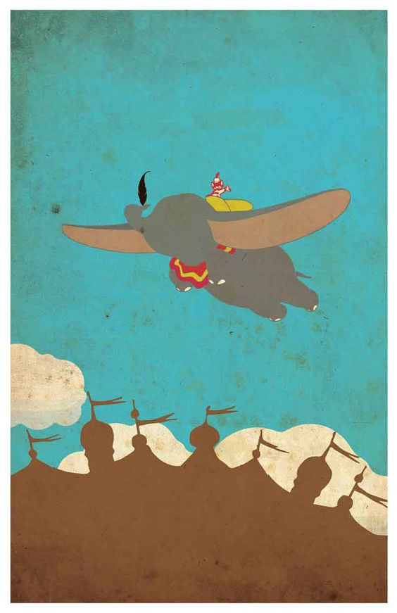 Vintage Disney movie poster Dumbo by MINIMALISTPRINTS on Etsy