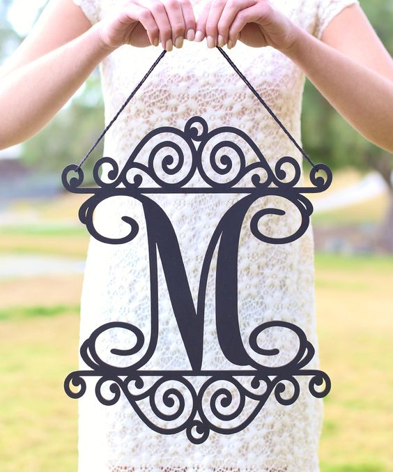 Unfinished Wood Personalized Ornate Initial Wall Sign (163889)