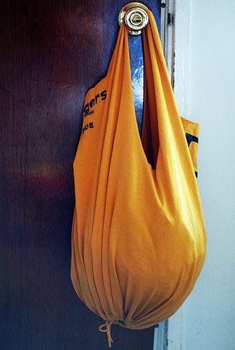 Turn an old t-shirt into an reusable bag.