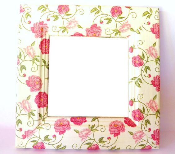 Espejos decorados shabby 75 en for Espejos ovalados decorados