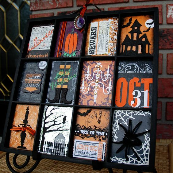 Halloween Decoration Altered Printer's Tray by ThreeMartelles on Etsy