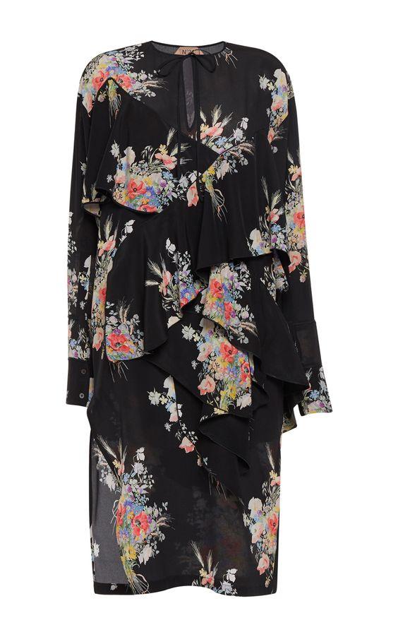 Cara Ruffled Floral Dress by NO. 21 for Preorder on Moda Operandi