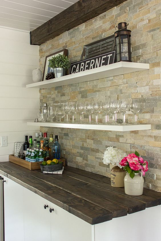 Take off the top of my kitchen hutch and add these stained 2x4's. This might work!