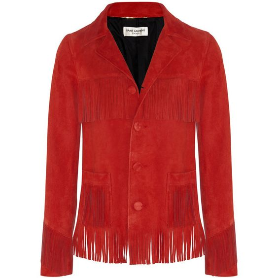 Saint Laurent Curtis fringed suede jacket (¥590,910) ❤ liked on Polyvore featuring outerwear, jackets, tops, red, red fringe jacket, red slip, red suede jacket, red jacket and suede jacket