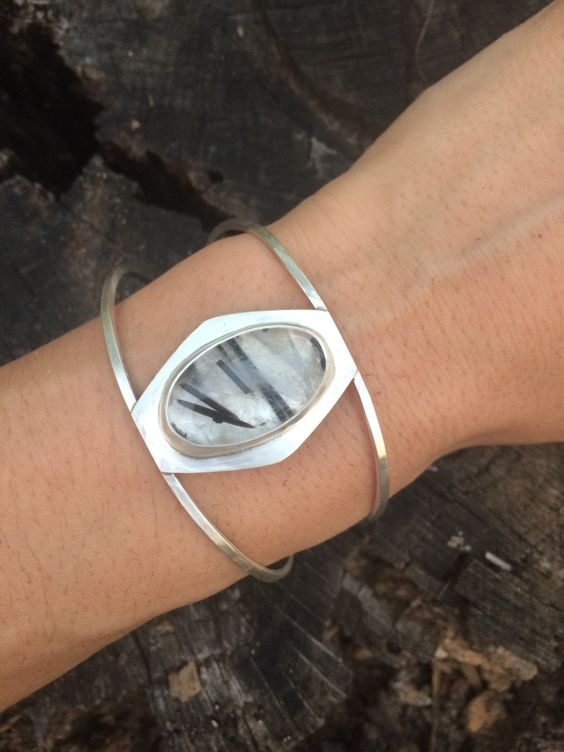 Black Rutilated Quartz and Sterling Silver Cuff Bracelet by AURAVEDASF on Etsy