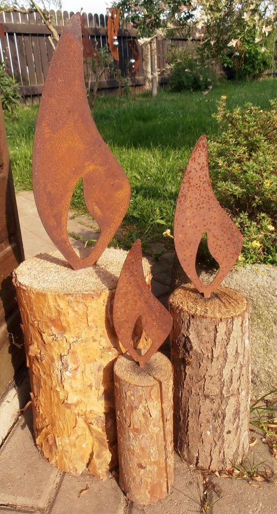 Edelrost Flammen Mit Dorn 3 Grossen Metall Garten Advent Kerze Flamme Rost Deko Weihnachten Dekoration Dekoration Edelrost