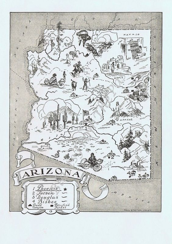 Vintage MAP Arizona Charming Adorable Beautifully Illustrated – Tucson Tourist Attractions Map