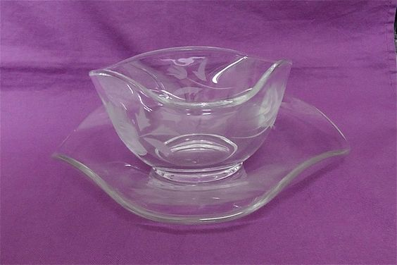Vintage Etched Glass Bowl and Matching Plate by DelicateCreations on Etsy