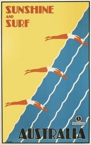 Cartaz turístico da Austrália de 1936. De autoria de Gert Sellheim, o trabalho pode chegar aos 6 mil dólares (R$ 13 mil, aproximadamente) na venda em Nova York