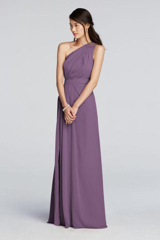Extra Length One Shoulder Chiffon Bridesmaid Dress - Wisteria ...