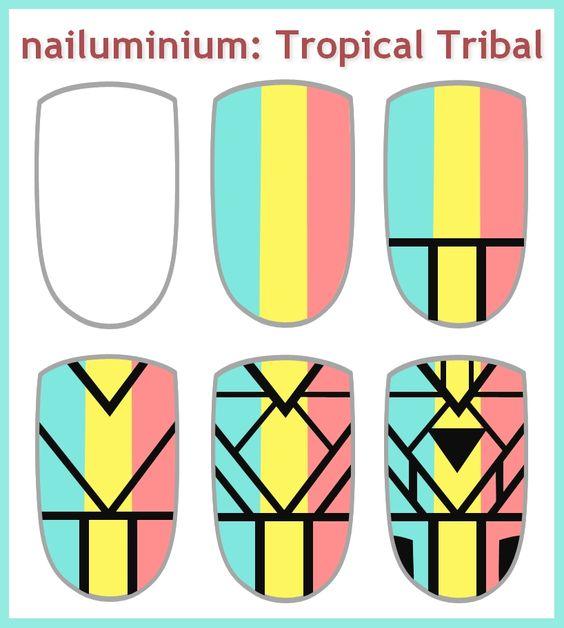 Nailuminium: Tropical Tribal (+tutorial) Nail art. Nail design. Polish. Polished. Polishes.