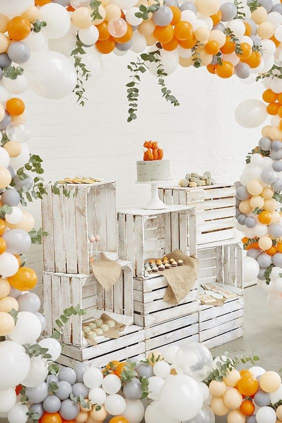 Treat table made with crates from a Rustic Modern Woodland Fox Party on Kara's Party Ideas | KarasPartyIdeas.com: