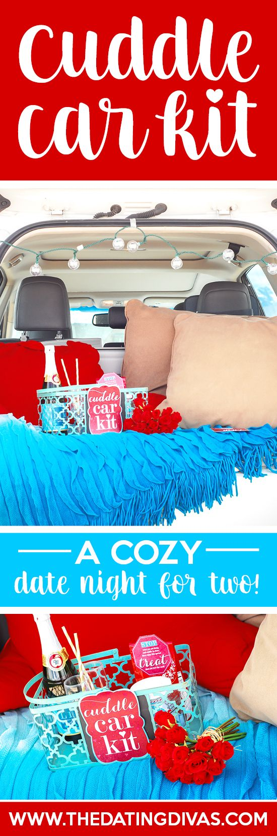 A car date with free printables! Create your own cuddle car kit for a stress-free date night without ever leaving your car! Printables designed by www.la-sync.com www.TheDatingDivas.com