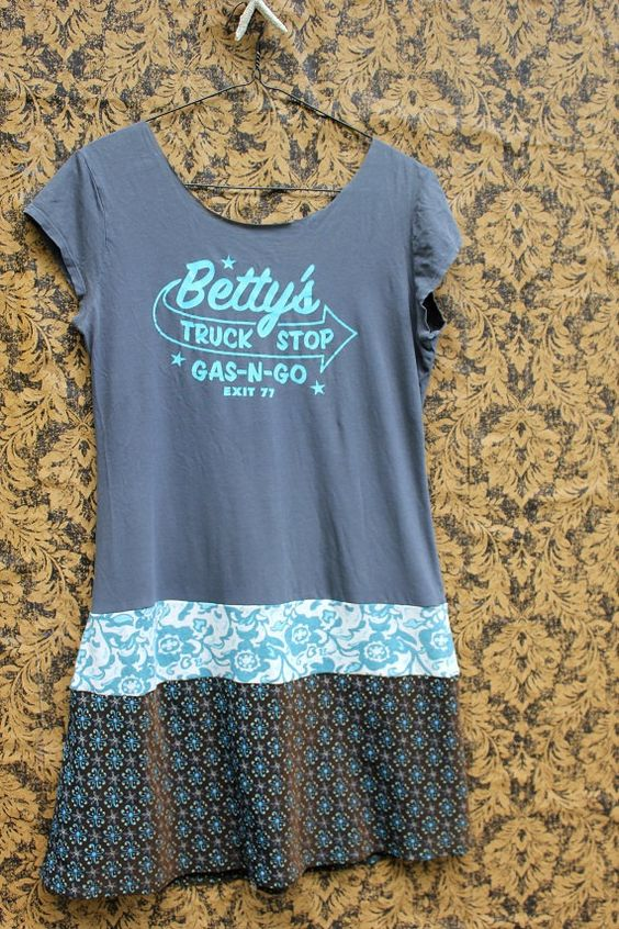 REVIVAL Upcycled Bohemian Retro Vintage TShirt Dress: