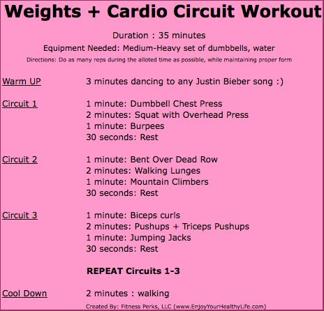 35 Minute Full Body Cardio + Weights Workout