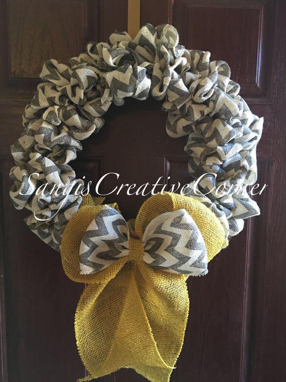 Everyday Chevron Burlap Wreath by SangisCreativeCorner on Etsy