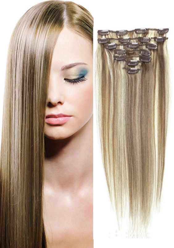 "18"" Clip-In Human Hair Extensions - #6/613 Bleach Blonde"