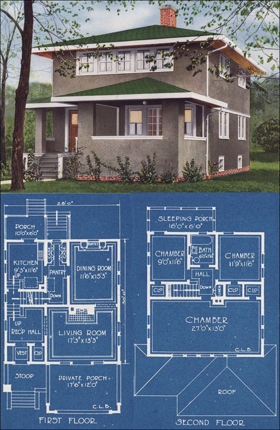Modern Stucco Foursquare House Plan 1921 C L Bowes