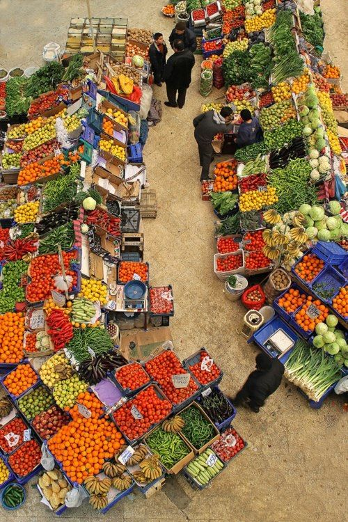 Moroccan vegetable and fruit souk. everyone in morocco goes to the souk almost weekly.