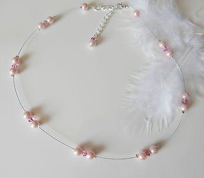 Collier mariée fil cablé blanc cristal swarovski et p.de verre nacrées rose  €12