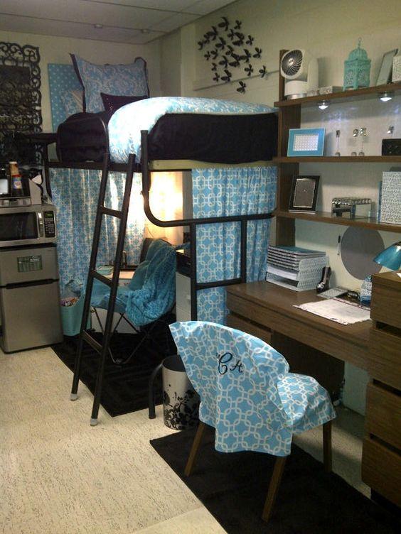 College Dorm Room Bedding Ideas Blue Damask Dorm Room Bedding and Dorm ...
