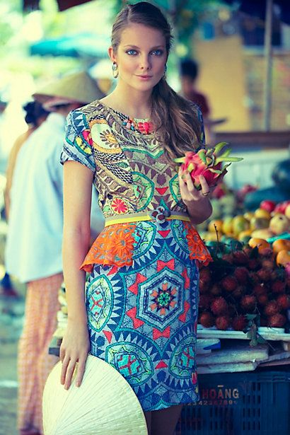 OMG ANTHRO! You have done it again!  This dress is so fun, beautiful, and colorful.  Love it! Sunchart Peplum Dress #anthropologie