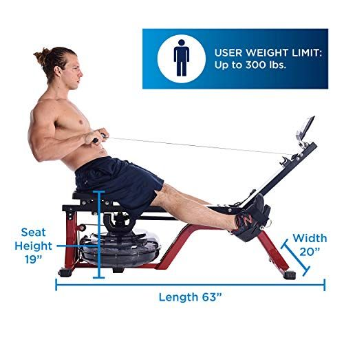Stamina X Water Rower Compact Rowing Machine With Heart Rate Transmitter And Multi Function Monitor Rowing Machines Workout Machines Rowing