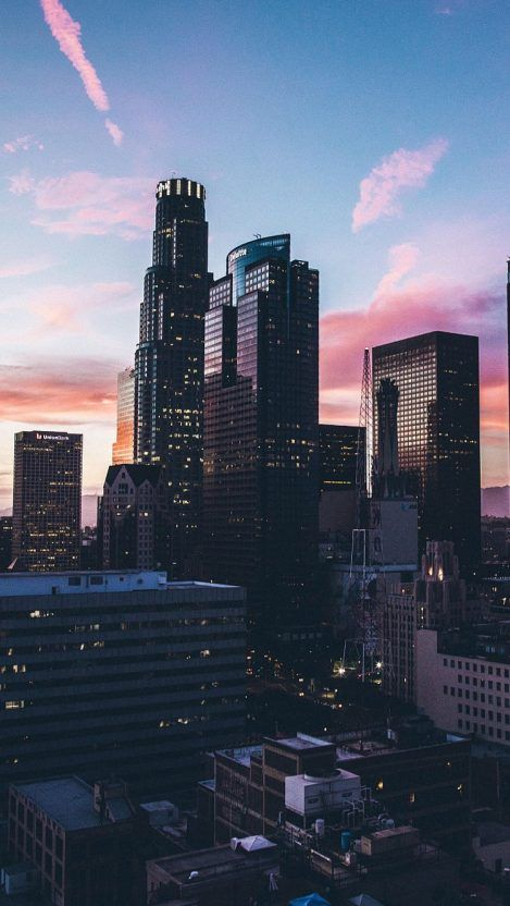 City Skyscrapers Buildings Ocean Sunset Iphone Wallpaper City