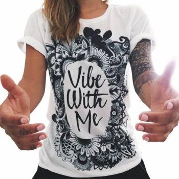 Casual O Las Mujeres Con Cuello Corto Manga De La Letra De Impresión Camiseta…