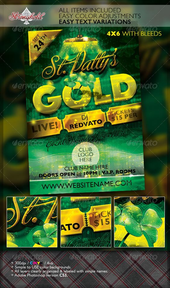 St. Patrick's Day Gold Event Flyer Template