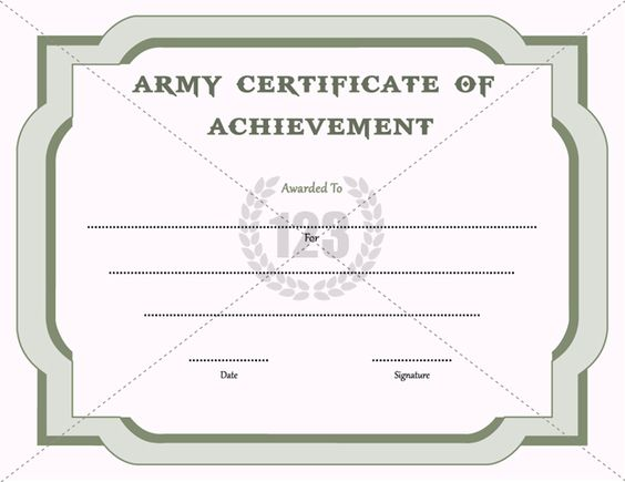 Army Certificate of Achievement Template 123Certificate – Template Certificate of Achievement