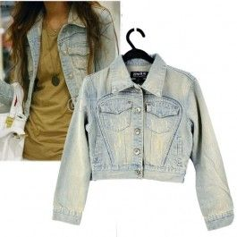 Women\'s Vintage Clothes Blushing Frayed Jeans Tops Jacket Denim Coat