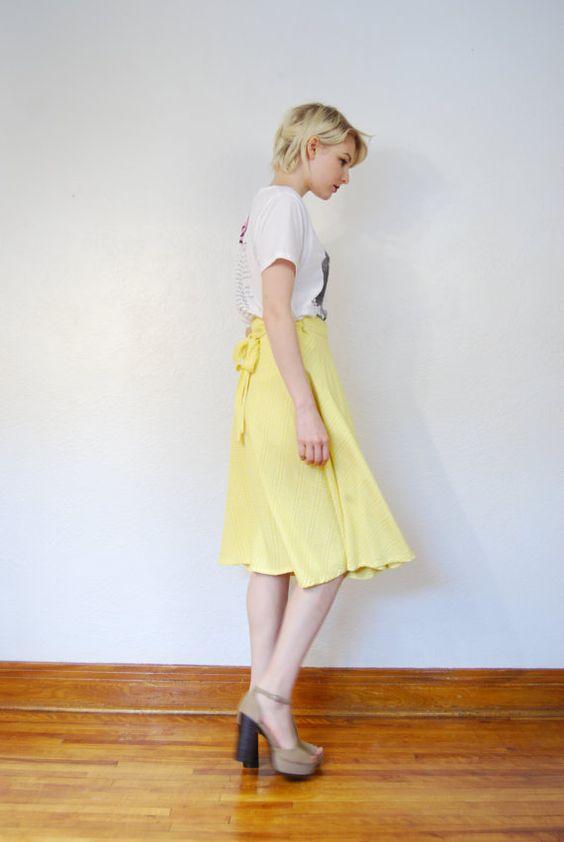 vintage 1970s / yellow plaid / skirt / swirl skirt / back by YeYe, $24.00