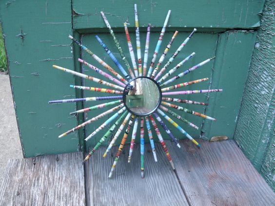 Star Burst Mirror - Upcycled Magazine. $23.00, via Etsy.