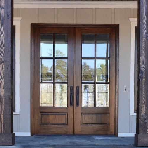 6 Lite Arched Tdl Mahogany Entry Door With Clear Beveled Or Flemish Low E Glass 8 0 Kitchendoor French Doors Exterior Double Entry Doors Wood Doors Interior