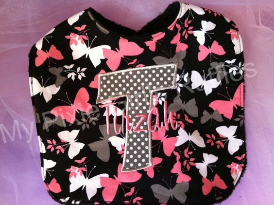 Butterfly Bib with Initial and Name by MyPixieGirlsRuffles on Etsy, $12.00
