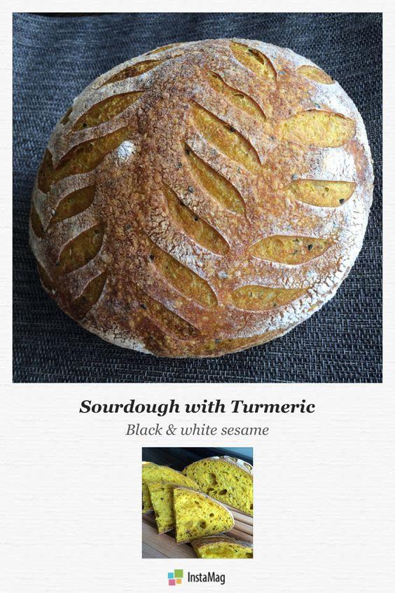 Sourdough with turmeric, black & white sesame #sourdough #turmeric #blacksesame #whitesesame #tartine #bread