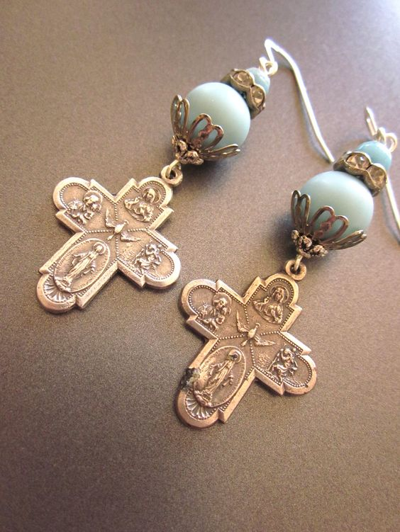 Vintage Cross Earrings, Religious Assemblage Earrings, Repurposed Jewelry. $46.00, via Etsy.