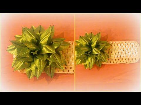 Цветок канзаши с крупными лепестками - YouTube