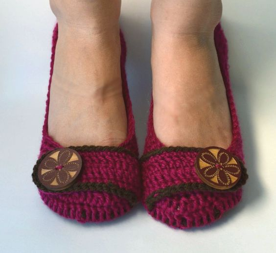 Crochet Womens Slippers, Flats, House Shoes - Fuchsia and Brown - Made to Order. $30.00, via Etsy.